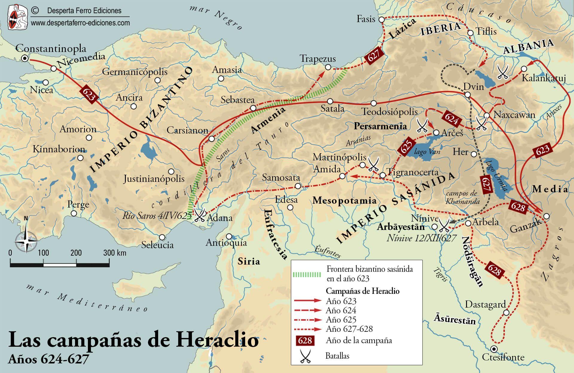 Mapa de las campañas de Heraclio contra la Persia sasánida