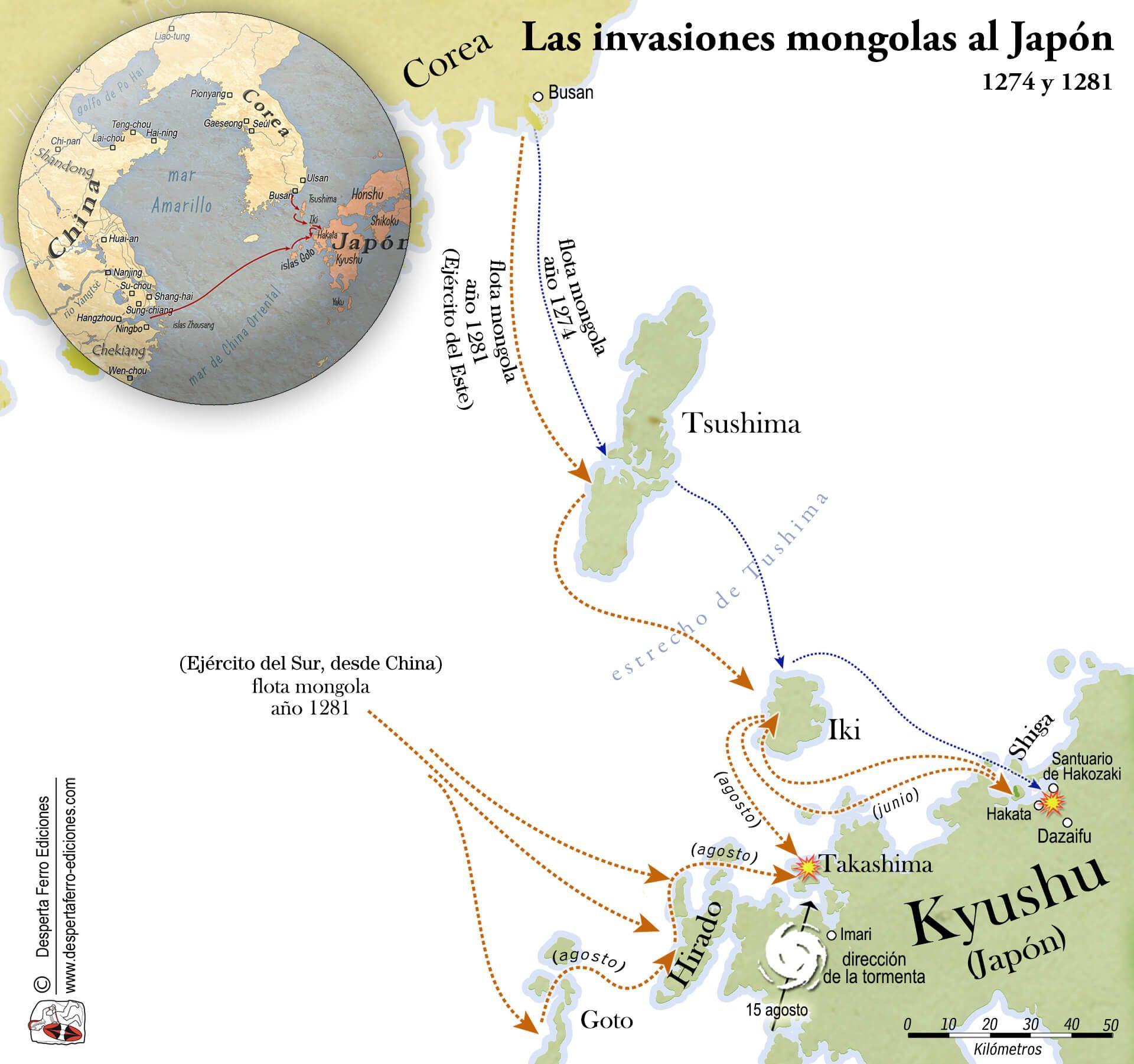 Mapa de las invasiones mongolas de Japón