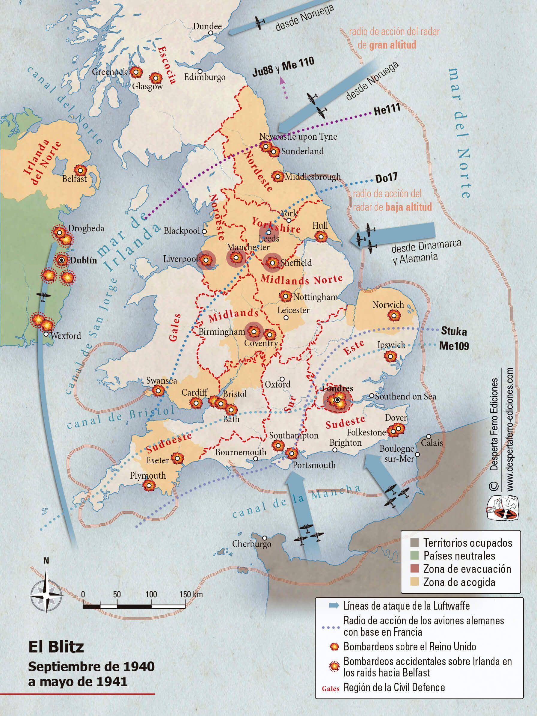 Mapa batalla de Inglaterra Blitz